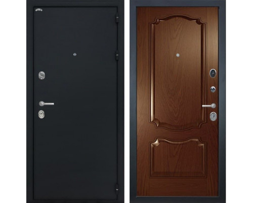 Входная стальная дверь Интекрон Греция Позитано Шпон (Черный шелк / Дуб бургундский)