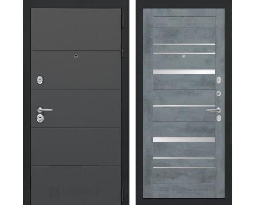 Входная дверь ART 20 - Бетон темный, зеркальные вставки