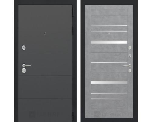 Входная дверь ART 20 - Бетон светлый, зеркальные вставки