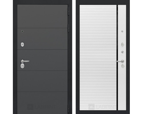 Входная дверь ART графит 22 - Белый софт, черная вставка