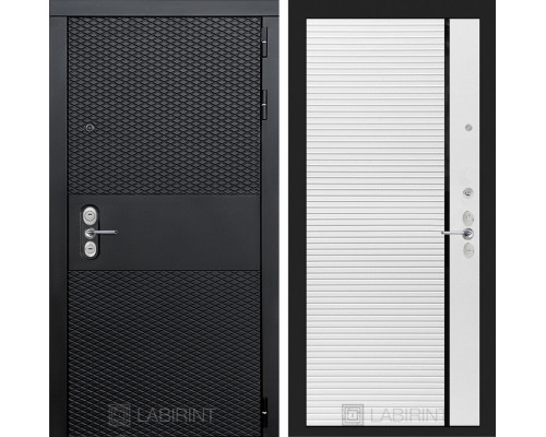 Входная дверь BLACK 22 - Белый софт, черная вставка